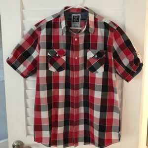 💋BUY 1 GET 1 Red and Black short sleeve button up